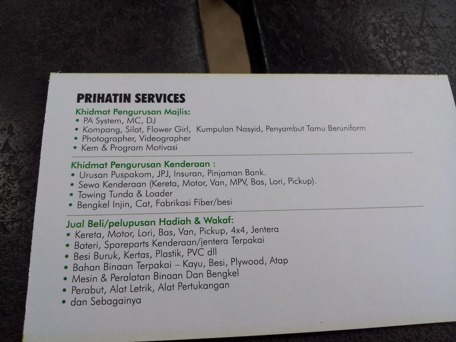 Ini adalah senarai sevices yang ditawarkan oleh RPWP untuk mengumpul dana
