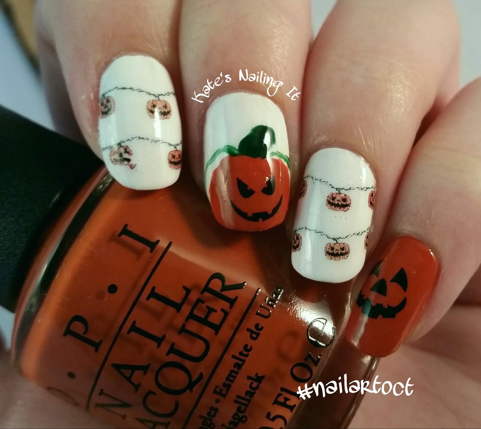 Kate\'s Nailing It: October nail art challenge Day 19: Pumpkins