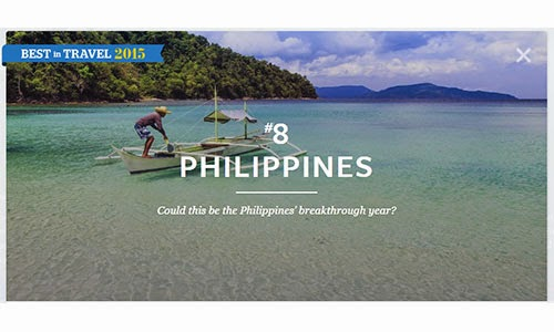 Philippines, No.8 on Top 10 Best in Travel 2015 list in Southeast Asia