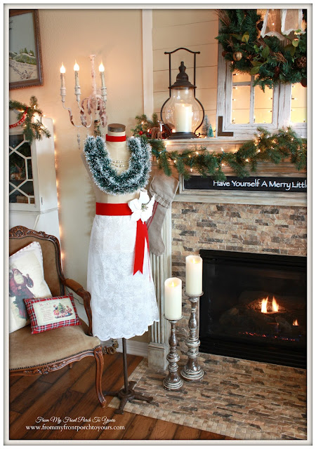 Christmas Dress Form-Lace Skirt-Ribbon Sash-Antique Farmhouse Dress Makers Form-From My Front Porch To Yours