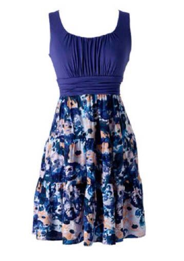 Blue Flower Printed Summer Dress