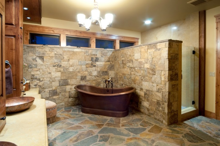 30 ideas de decoraci n para ba os r sticos peque os for Cabin shower tile ideas