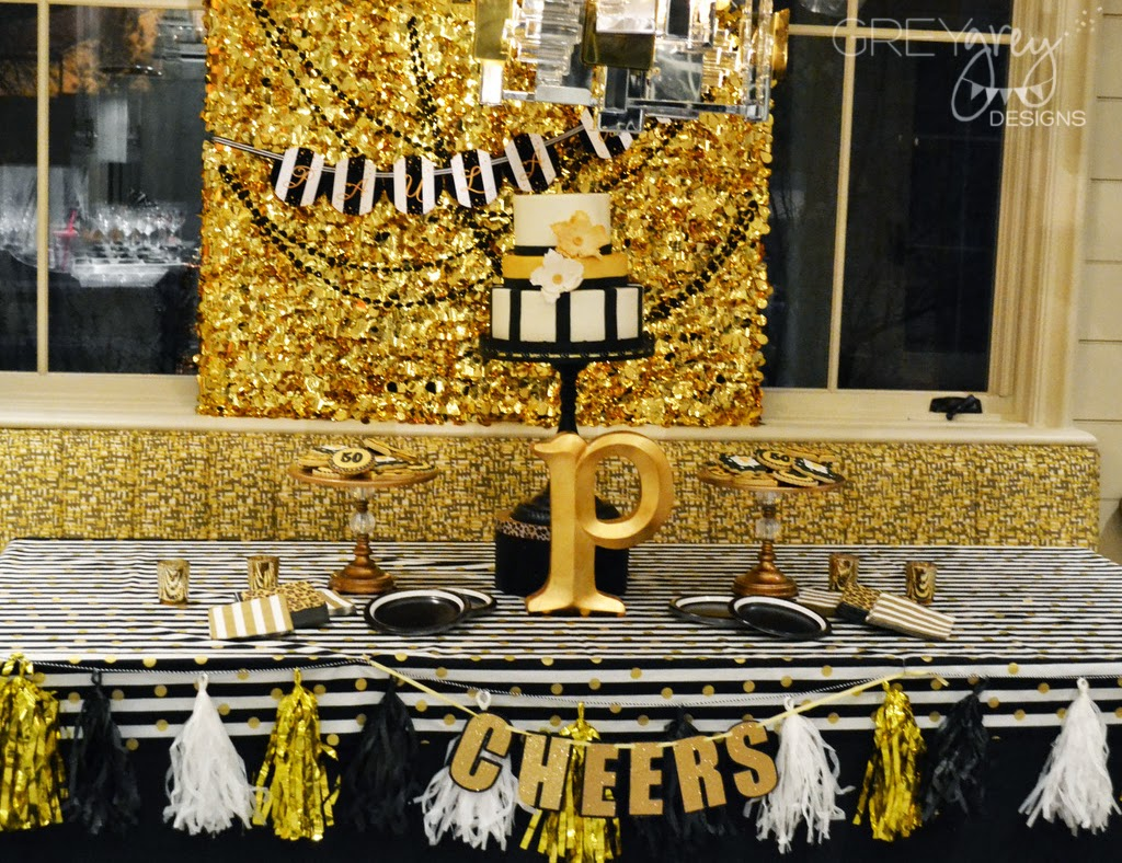GreyGrey Designs My Parties Black and Gold Glamorous 50 Birthday