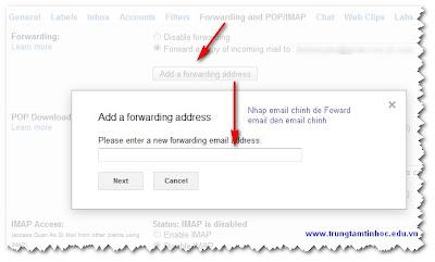 Dùng Foward Check nhiều mail từ 1 tài khoản Gmail