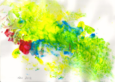Painting - yellow, blue, red and green - hand painting by 16 month child