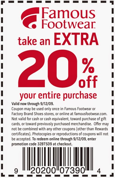 Famous footwear discount coupons