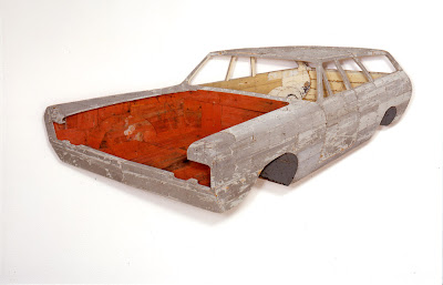 Ron van der Ende Plymouth Custom Suburban 1969 2000 bas-relief in used wood, 205x95x16cm (corporate collection Barendrecht, NL)