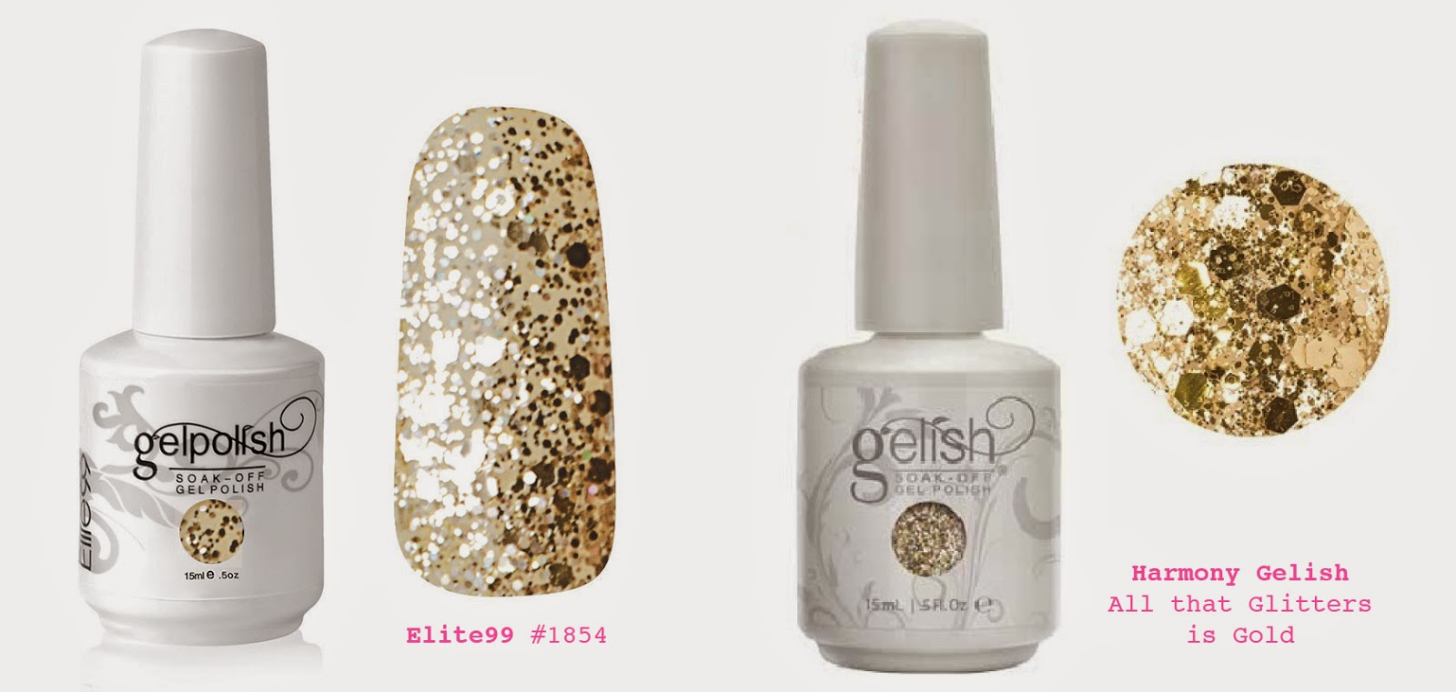 Gelish all that glitters is gold vs compared to elite99