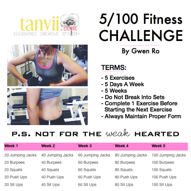 Fitness, 5/100, Challenge, Tanvii.com, Tone, Lean, Muscles