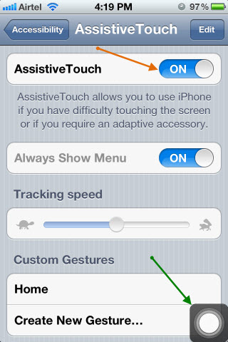 The button offers further options when touched as you can see in the