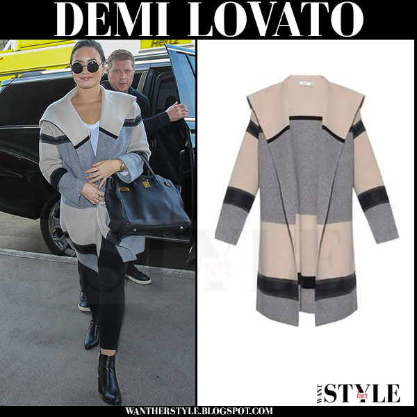 Demi Lovato in grey colorblock coat vince what she wore streetstyle