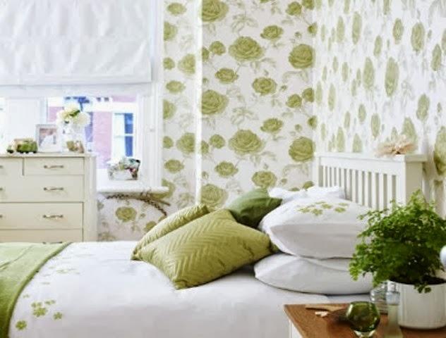 ... contoh desain wallpaper dinding cantik untuk kamar tidur rumah Anda
