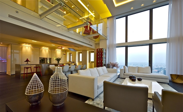 Penthouse living room interiors