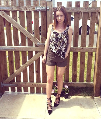 New Look Khaki Shorts, Public Desire Heels