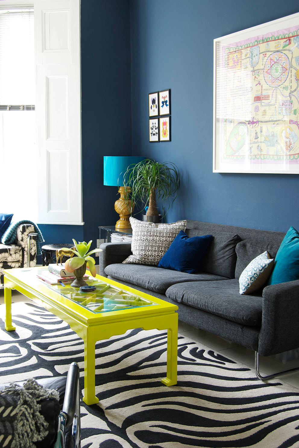 Navy Living Room, Chartreuse Coffee Table and Zebra Print Rug - French For Pineapple Blog