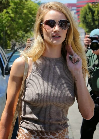 Rosie Huntington flaunts figure steps out braless