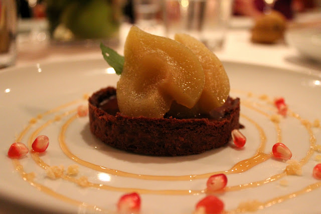 Vin Santo chocolate tart with seckel pears