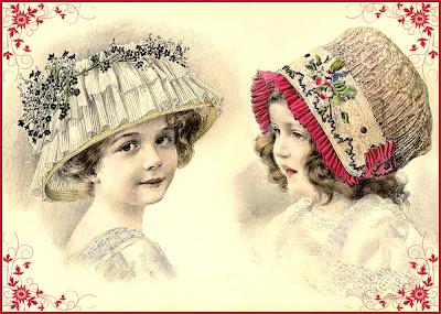 ilustración vintage de niñas con sombrero