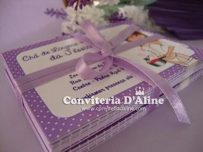 convites cha lingerie lilas