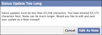 Facebook Status Character Limit is 60,000 - Update