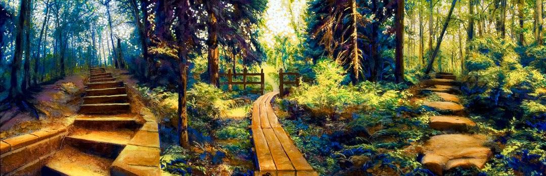 Three paths wend upward through a forest.