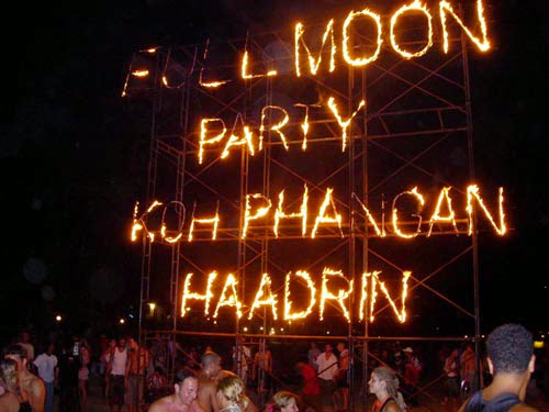 The Full Moon Party on Haad Rin Beach in Koh Phangan, Thailand