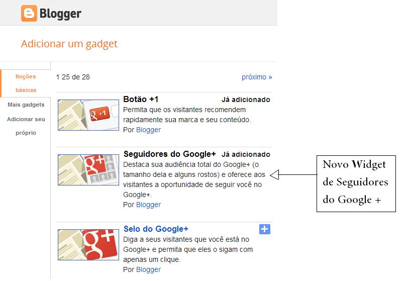 Novo Widget do blogger para seu blog divulgar sua página do Google + 2