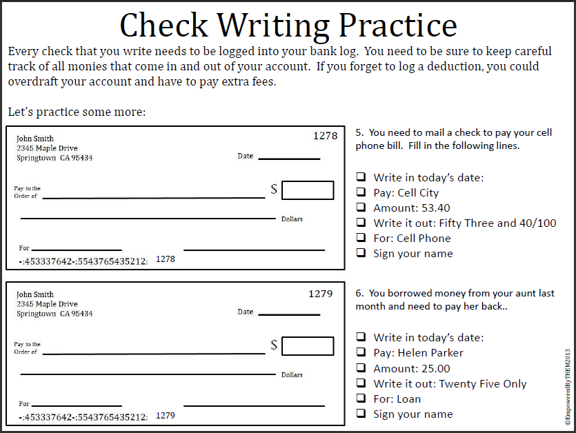 Worksheets Blank Checks Worksheet empowered by them may 2013 one more day of school well until monday when we start summer httpwww teacherspayteachers comproductlife skills writing checks 711980