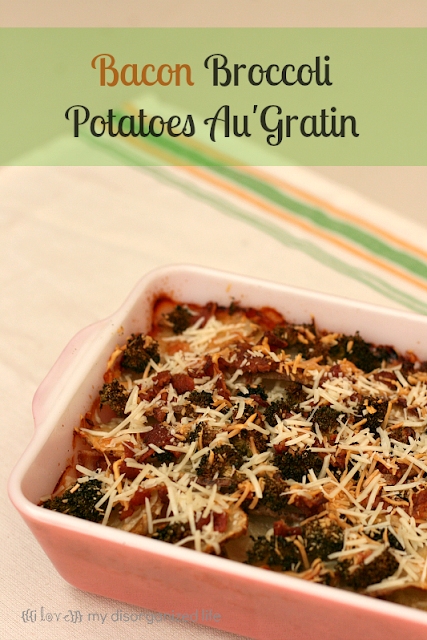 Bacon Broccoli Potatoes Au'Gratin from {i love} my disorganized life #baconmonth #bacon #potatoes