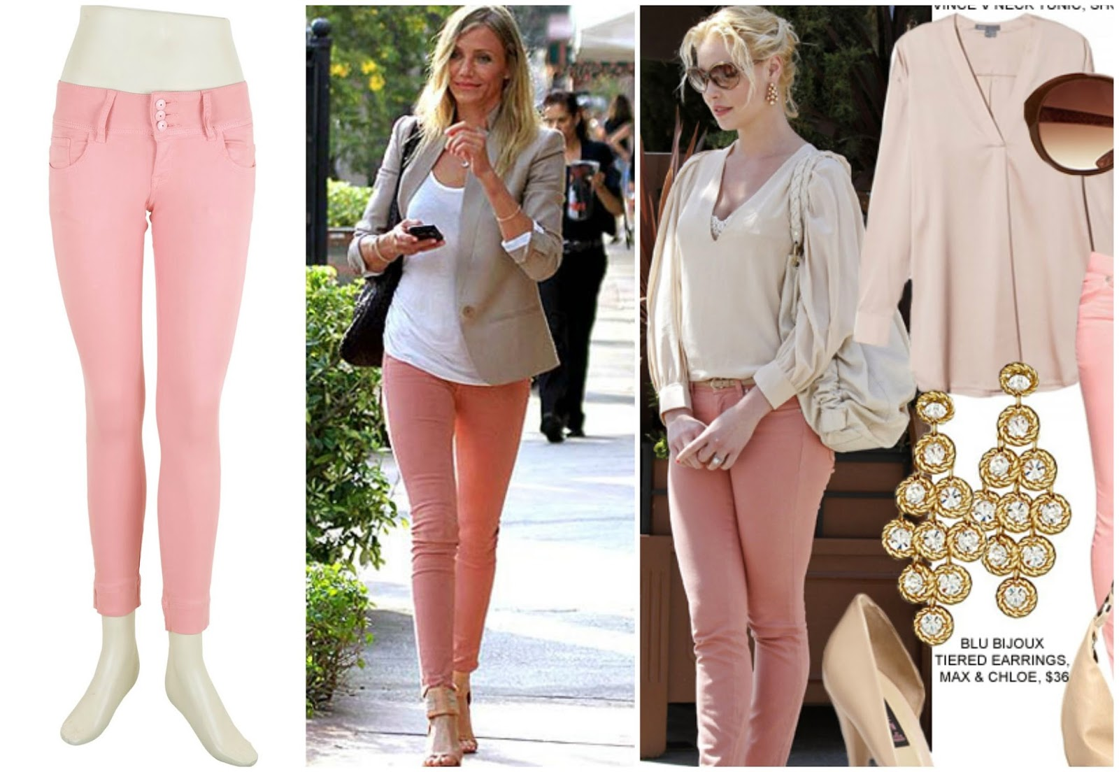Deal pastel pink jeans outfit, celebs style pink jeans, pink fashion