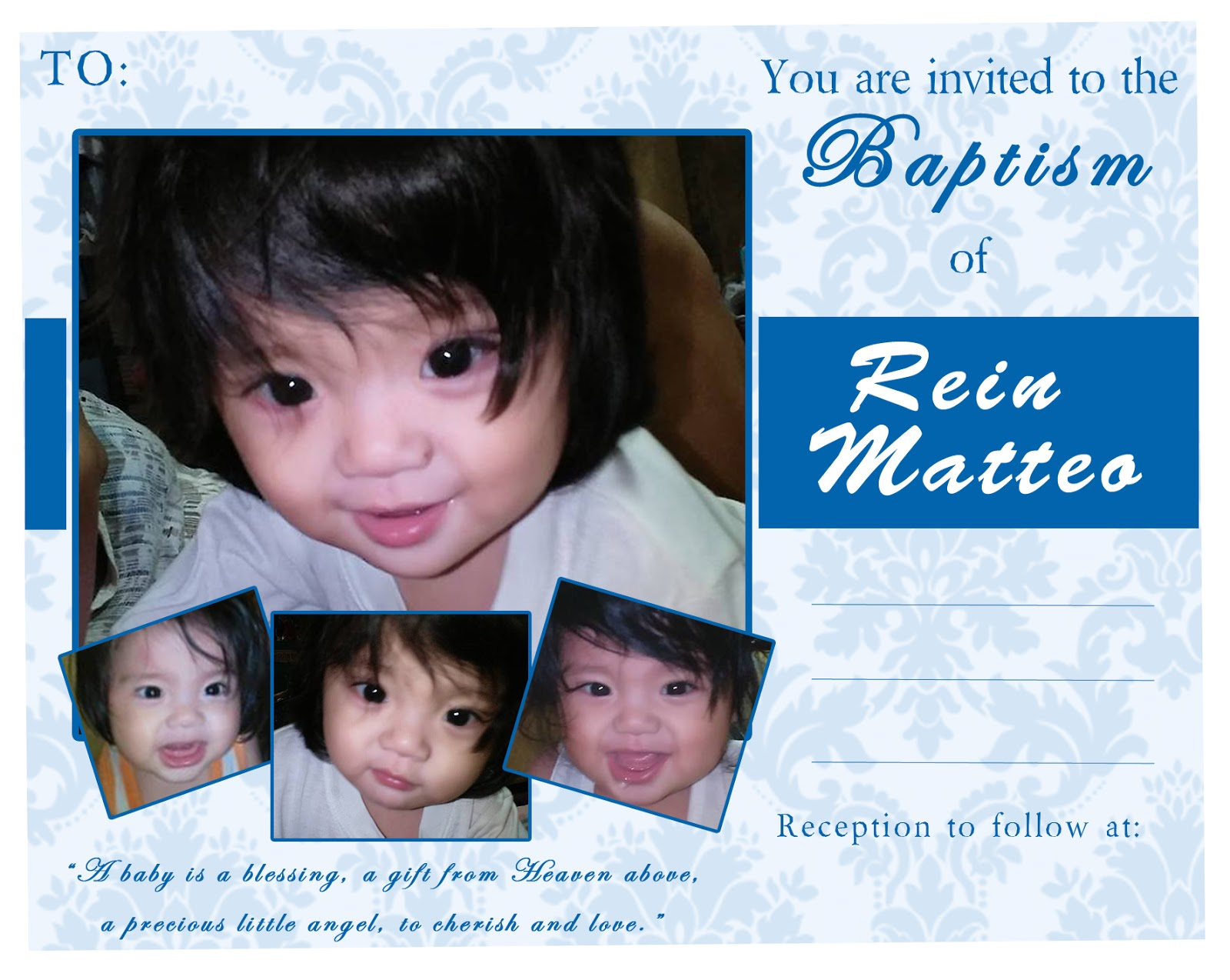 Diy invitation and thank you tags nhengs wonderland baptismal invitation stopboris Images