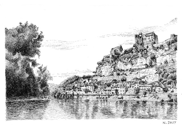 Drawing in black ink on paper representative the Beynac village and castle in Perigord. France