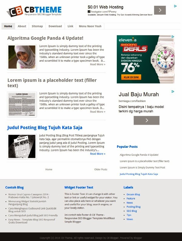 CB Theme is SEO Responsive Blogger Template