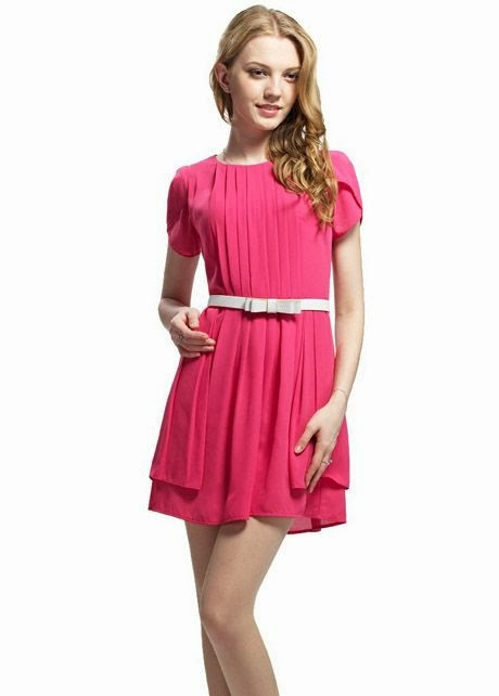 Pretty Belt Decoration Petal Sleeve Rose Pleated A Line Dress