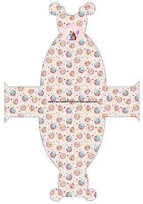 Cajita con forma de vestido, para fiesta de primer año de nena.