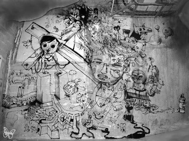 New Indoor Mural By The Popular French Street Artist Dran For The Lasco Project - Palais De Tokyo, Paris. 1