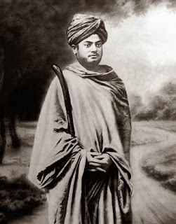 Image of Swami Vivekananda, as a wandering monk, in Gerua