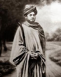Image of Swami Vivekananda, as a wandering monk, in Gerua