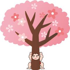桜の木に扮する助太力くんのイラスト