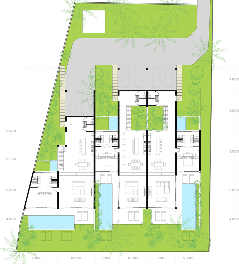 Ground floor plan of modern beach house