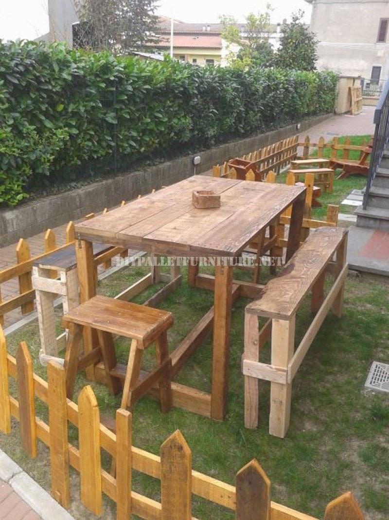 set de muebles de exterior para el jardn de palets - Muebles De Jardin Con Palets