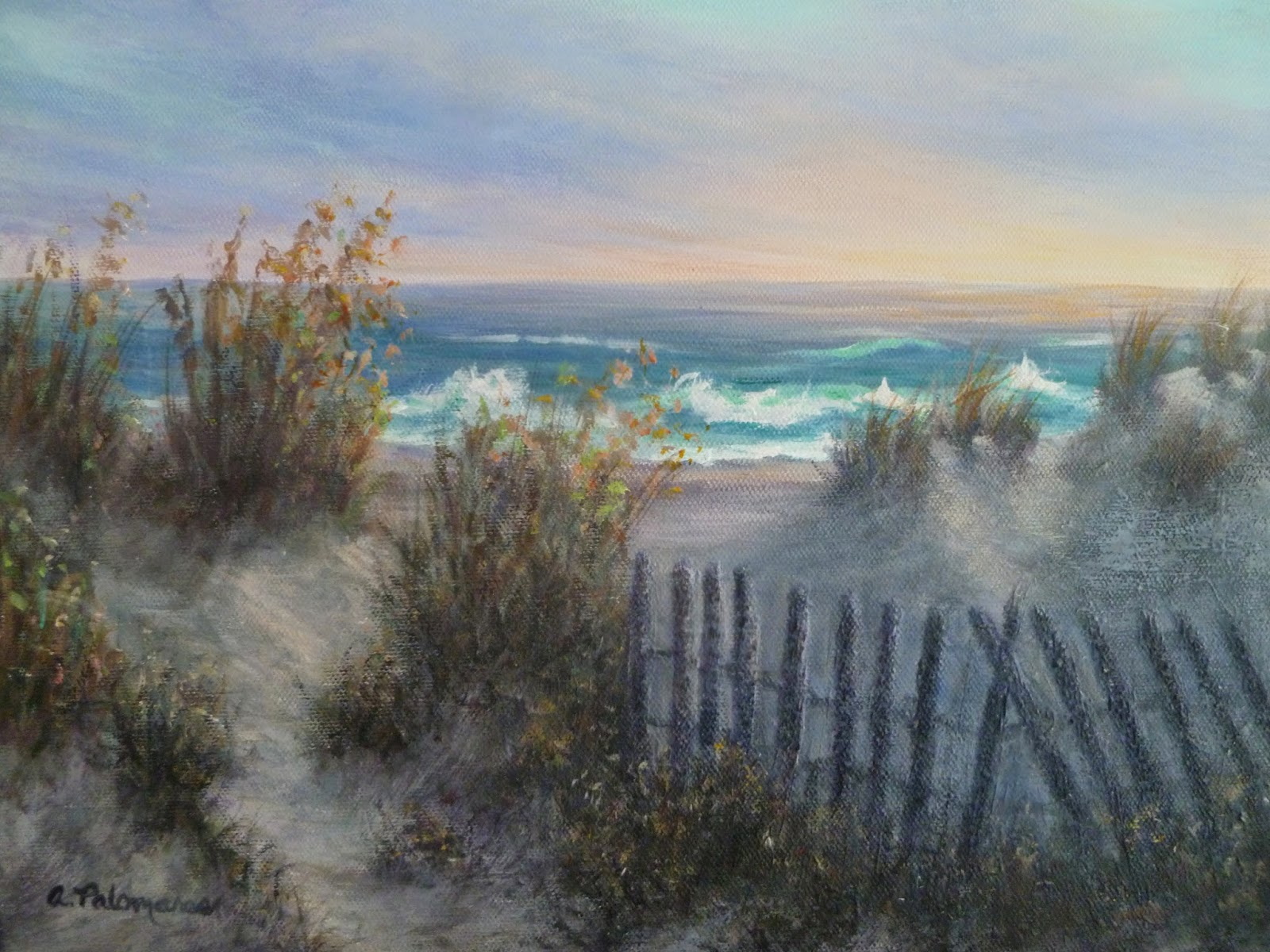 Beautiful sunrise over sand dunes painting
