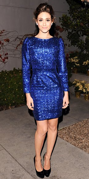 Emmy Rossum blue sequins dress
