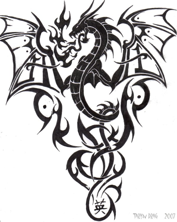 Tribal Dragon Tattoo Designs for Women
