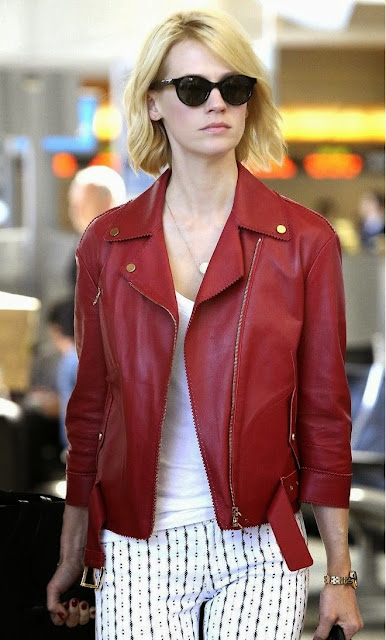 January Jones Street Style Biker Jacket