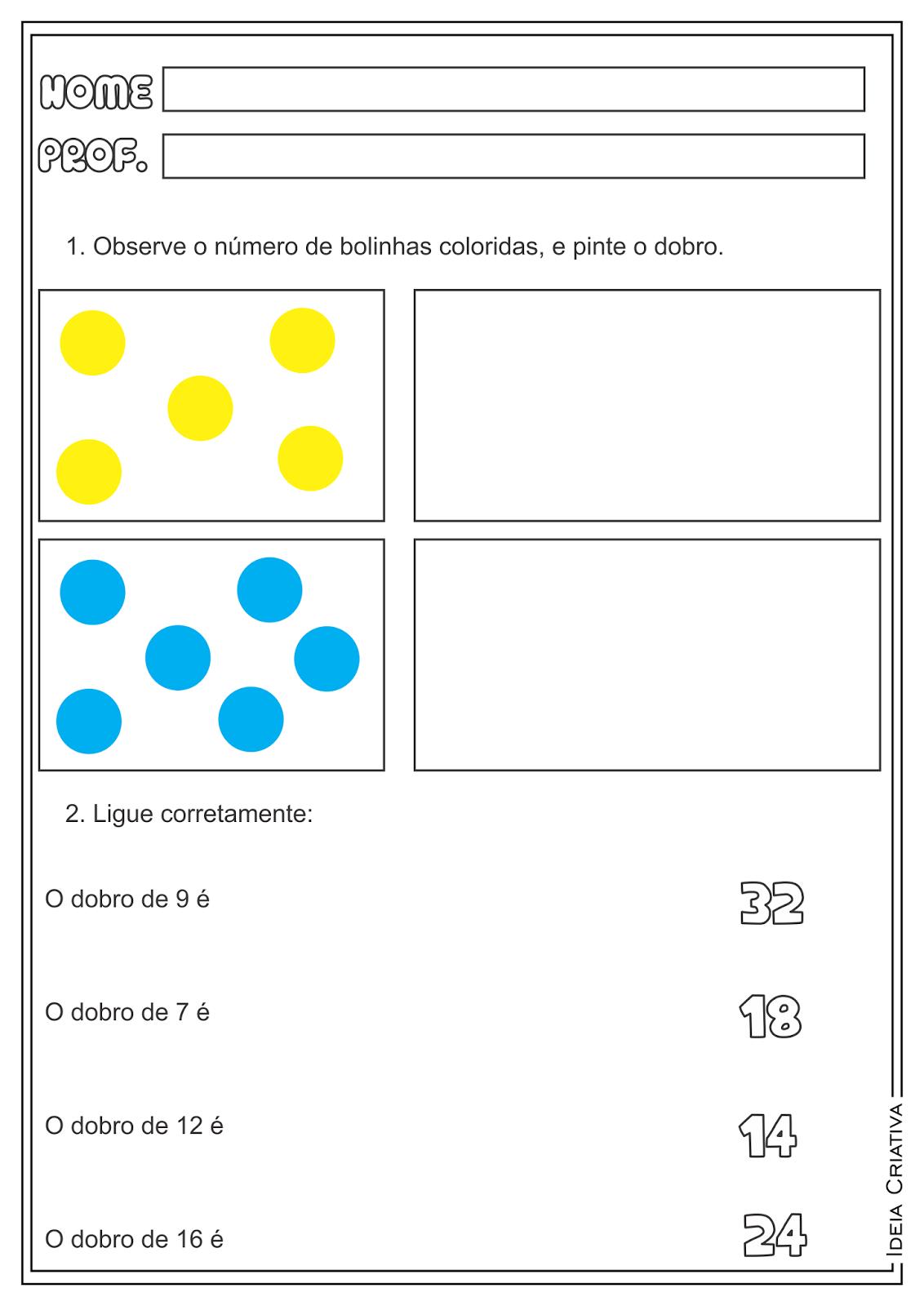 Atividades Trabalhando Dobro Matemática Ensino Fundamental