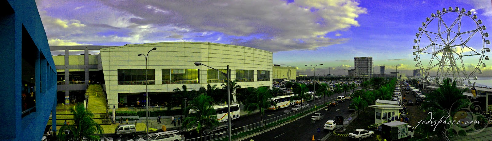 Panoramic view of SM Mall of Asia and its giant ferries wheel