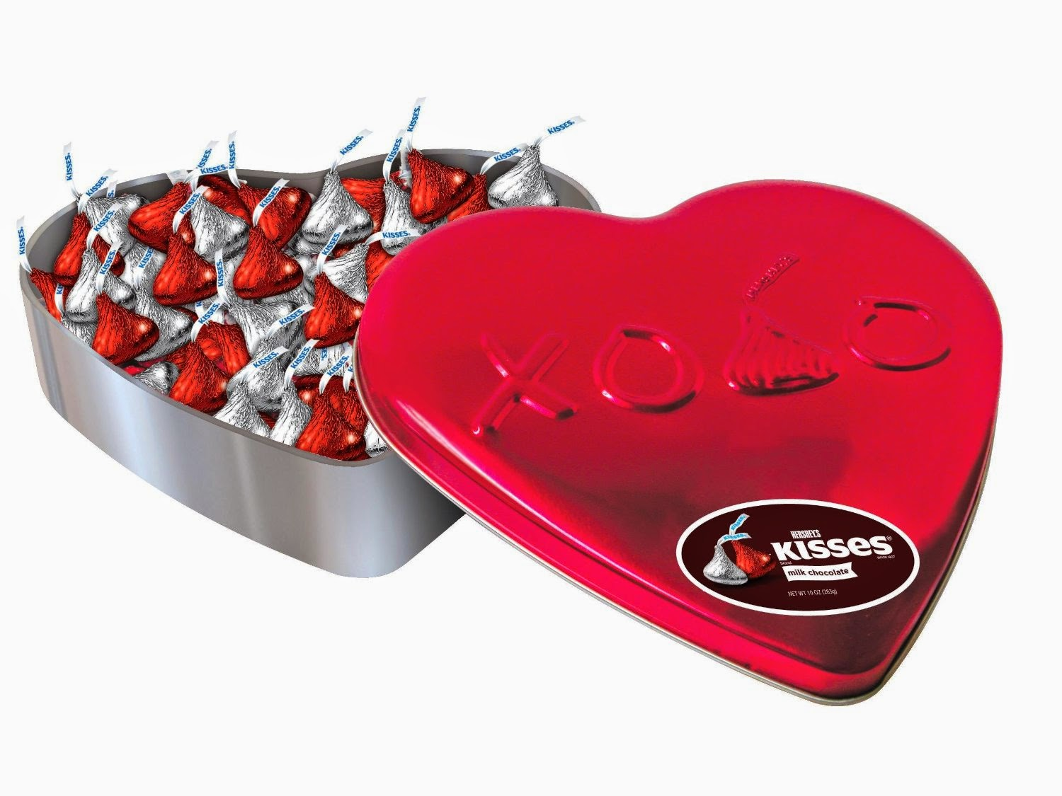 Hershey's Valentine's Kisses, Milk Chocolate, 10 Ounce Heart Tin