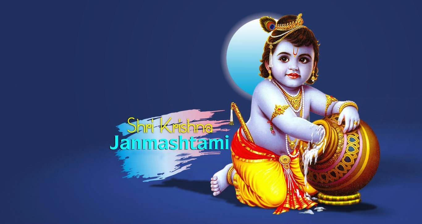 Happy Birthday To Lord Krishna Celebration HD Wallpaper