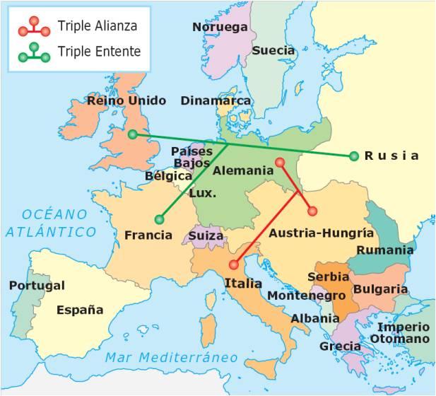 Las alianzas militares previas al inicio de la I Guerra Mundial. Crédito: historywallace.blogspot.com